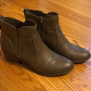 Brown leather ankle booties